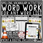 Word Work Activities • Spelling Activities