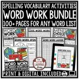 Word Work Activities and Spelling Activities