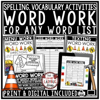 Word Work Activities and Spelling Activities