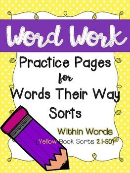 Word Work Pages for Words Their Way: {Within Words Yellow