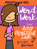 Word Work Printables for Any Spelling List