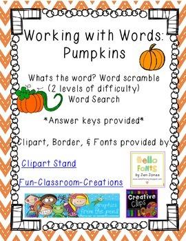 Word Work: Pumpkins