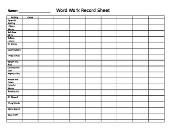 Word Work Record Sheet