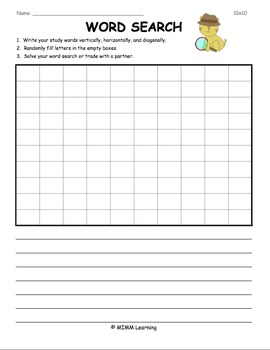 Word Work Spelling Activity - Create a Word Search 10x10