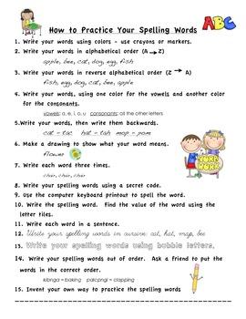 Word Work Spelling Menu Spanish and English