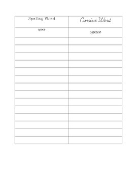 Word Work: Spelling Words and Cursive Words