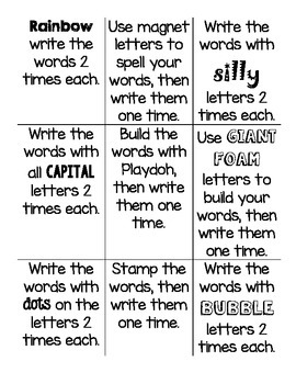 Word Work Tic-Tac-Toe Choice Board Daily 5 Spelling/Sight Words