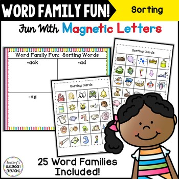 Word Work ~ Word Families Sorting Activity ~ Magnetic Lett