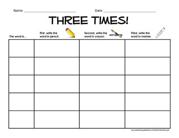 Word Work - Write your word Three Times