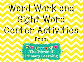 Word Work and Sight Word Center Activities