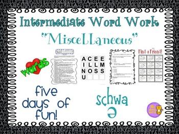 "Word Work  ""MISCELLANEOUS"" ---Schwa"