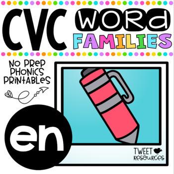 CVC Word Family 'EN' No Prep Phonics Printables