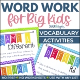 Word Work for Big Kids: Vocabulary Activities
