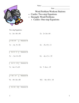 Word Workout Algebra 1 Stations - Word Problems and Solvin