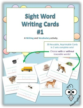 Word Writing Cards - Early Readers Reusable and Reprintable