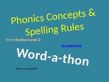 Word-a-thon (Jeopardy style): Level 3 Review Game