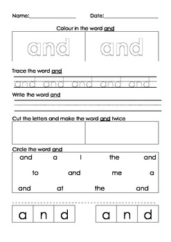 Word activties. Spelling, writing, tracing, word recogniti
