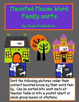 Word family sorting cards for pocket chart - short A set.