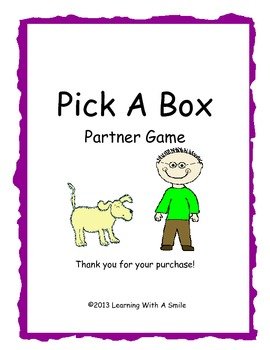 Word Fun for Grade 1!  Pick a Box Partner Game- Great Lite