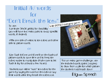 "Word- inital /k/ and Categories for ""Don't Break the Ice"""