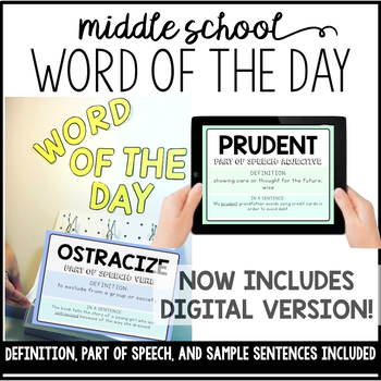 Word of the Day- 180 Words for the Middle School!