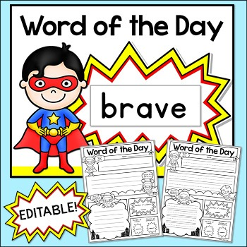 Word of the Day - Superhero Theme Posters & Comic Book Worksheets