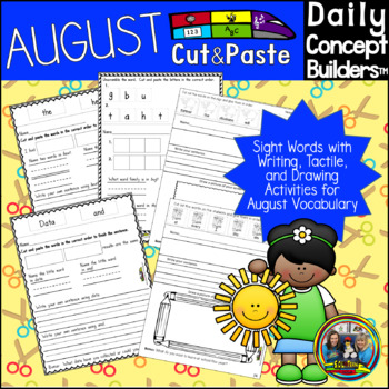 August Word of the Day Cut and Paste Activities