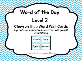 Word of the Day Word Wall Cards- Level 2- Chevron Blue
