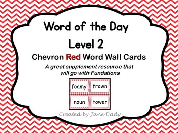Word of the Day Word Wall Cards- Level 2- Red Chevron
