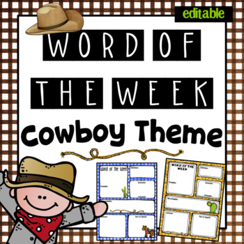 Editable Word of the Week- Cowboy