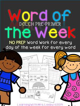 Word of the Week - Dolch Pre-Primer List