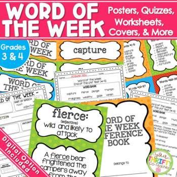 Word of the Week Unit {GRADES 2-4} Posters Worksheet Quizz