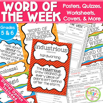 Word of the Week Unit {GRADES 4-7} Posters Worksheet Quizzes