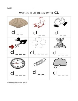 Words that begin with CL worksheet