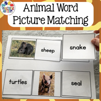 Animals - Word Picture Matching, Reading Strategies