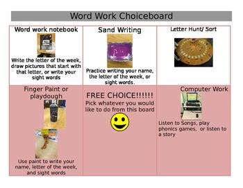 Word work choiceboard