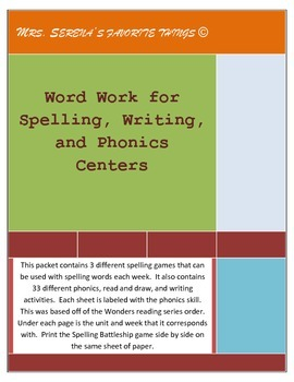 Word work for Spelling, Writing, and Phonics Centers Wonde