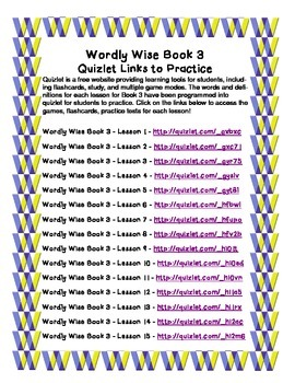 Wordly Wise Book 3 - Quizlet Links