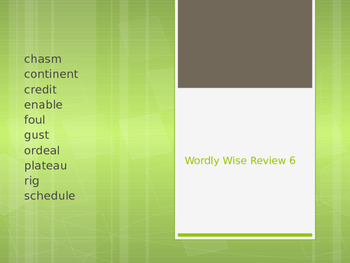 Wordly Wise Unit 6 Powerpoint vocabulary review cloze fill