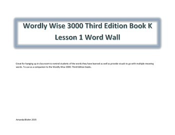 Wordly Wise Word Wall Companion to Book K Lesson 1