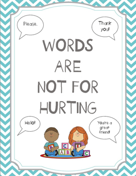 Words Are Not For Hurting Activity Sheets