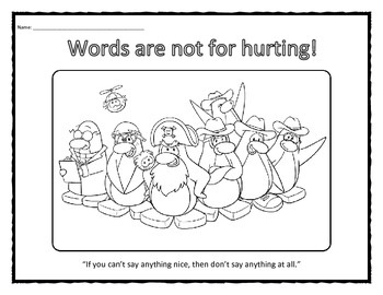 Words Are Not For Hurting coloring sheet handout
