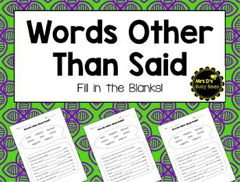 Words Other Than Said - Fill in the Blanks
