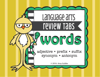 Words - Review Tabs (adjectives, prefixes, suffixes, synon