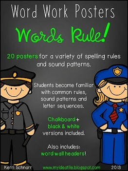 Words Rule!  Word Work Posters for Spelling Rules and Soun