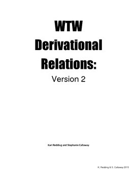 Words Their Way 2nd edition: Derivational Relations: Word