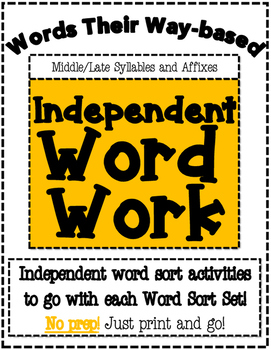 Words Their Way Based Independent Word Work-Middle/Late Sy