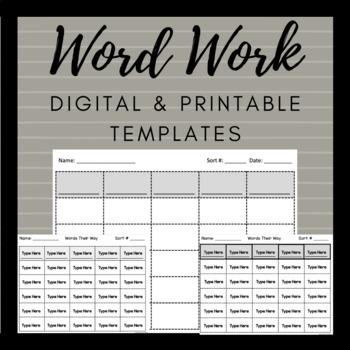 Words Their Way Blank Word Sort Template