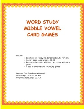 Word Study Games Middle Vowel Patterns