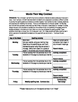 Words Their Way Contract